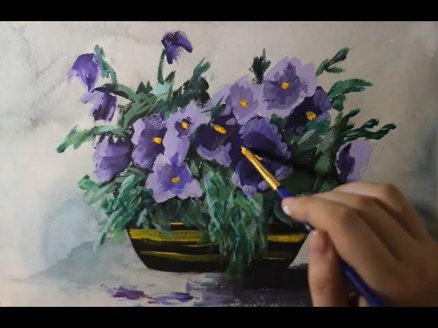 Рисуем Акварелью и Гуашью. Мастер-Класс. Цветы в вазе. Живопись. Полный Видеоурок.