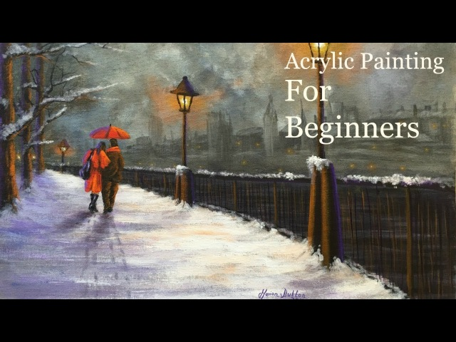 Acrylic Painting Tutorial for Beginners Lamplight Love Speed Painting Voice over - Paint with Maz