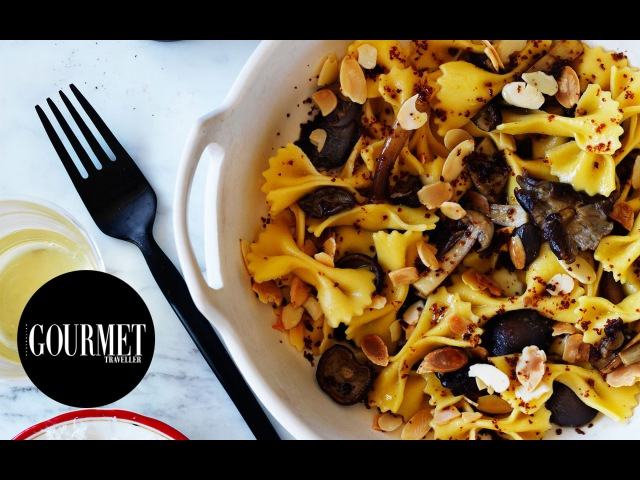 Farfalle with chestnut mushrooms and almonds | Gourmet Traveller