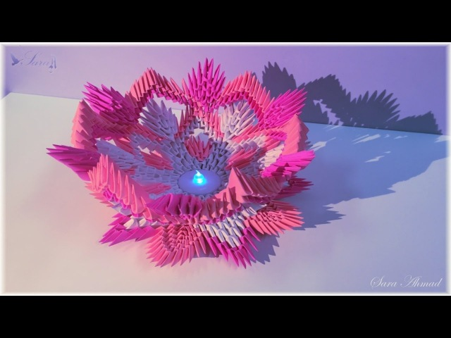 How to make 3d origami lamp flower 4 - part 1