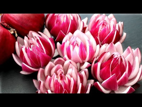 How To Make Red Onion Lotus Flowers - Vegetable Carving Garnish - Food Art Decoration