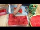 Популярный в Корее способ резать арбуз