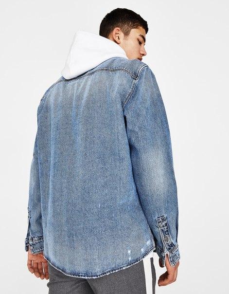 Джинсовая куртка-рубашка с разрывами