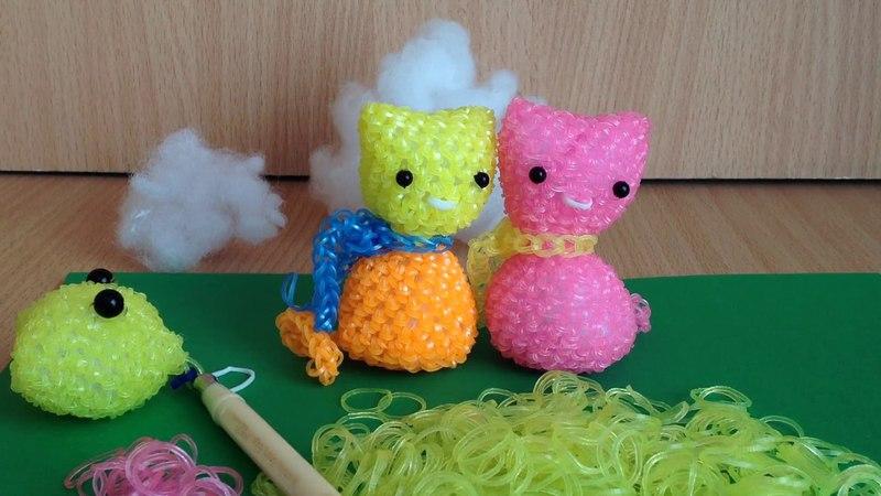 Мармеладный Котик из резинок лумигуруми (2 часть) на крючке Rainbow Loom