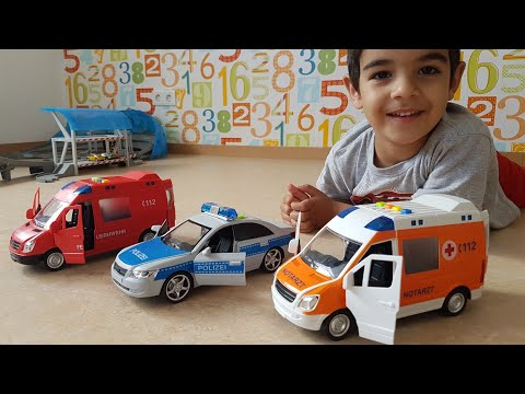Kid Playing toy Cars Toy cars Police Fire and Ambulance