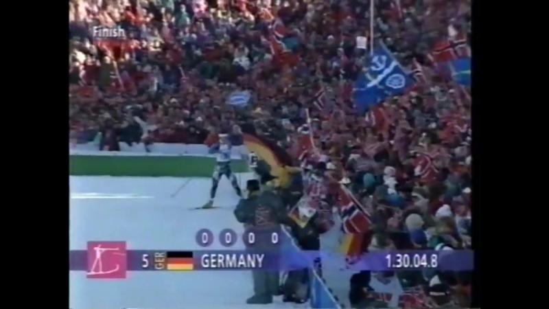 Биатлон-1994. Олимпийские Игры в Лиллехаммере. Мужская эстафета.