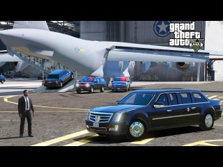 GTA 5 Presidential Mod Secret Service Motorcade Taking The Beast Limo To A USAF C-17 For Transport