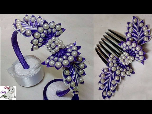 How to make Pearl Beaded Satin Ribbon Hair Band Comb Hair Accessories Diy Jewellery