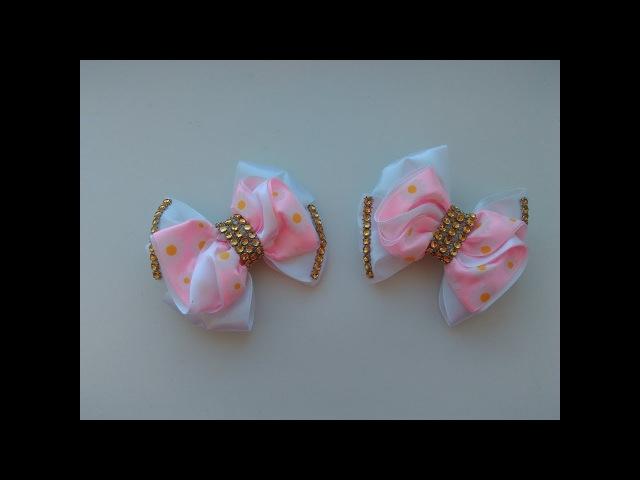 Бантики из атласной ленты МК Канзаши Bows from satin ribbon in Kanzashi MK