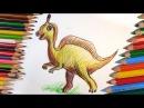 Как нарисовать ДИНОЗАВРА цветными карандашами поэтапно / Урок рисования для дет...
