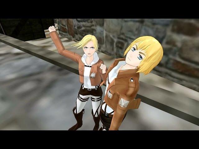 MMD SNK Poka Poka Attack On Titan funny meme animation Eremika Rivetra