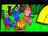 How To Draw A Camping Scene Kids Coloring Video