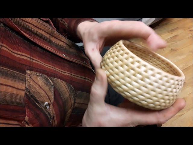 Плетение кромки и ручки в спиральной корзиночке