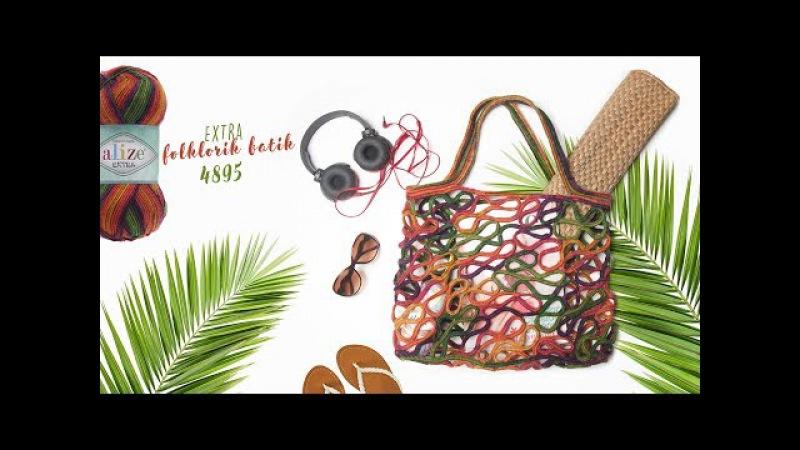Alize Extra Folklorik Batik ile Çanta Yapımı Making Bag with Alize Extra Folklorik Batik
