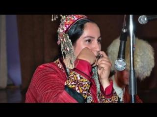Beautiful turkmen women in traditional dress
