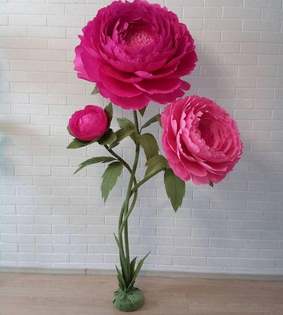 Роза и пион своими руками
