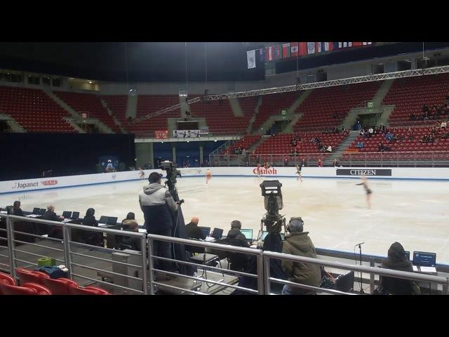Junior Worlds 2018 Ladies SP group 7 warm-up: Trusova, Ma, Lin, Ing, Kostornaia, Flood