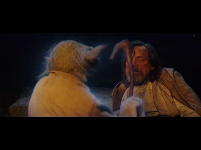 Yoda Trolls Luke High Quality Scene From Star Wars The Last Jedi