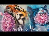 YAWN AND ROAR. Kitties VS Peonies. Gouache illustrations.