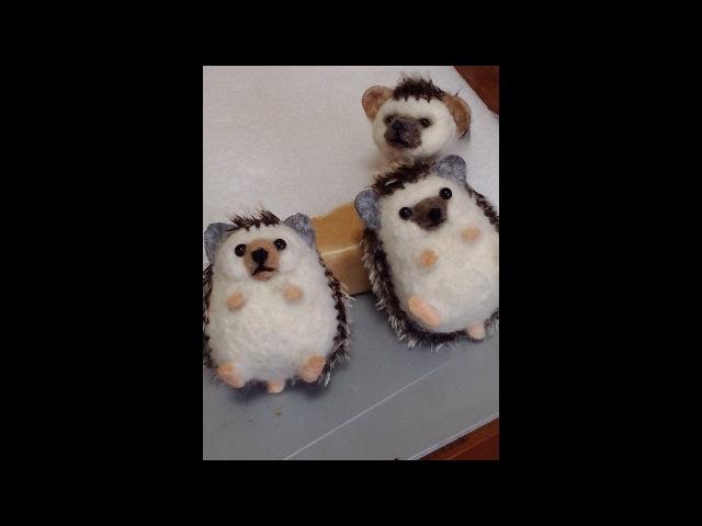 フェルト羊毛 ハリネズミの作り方 10