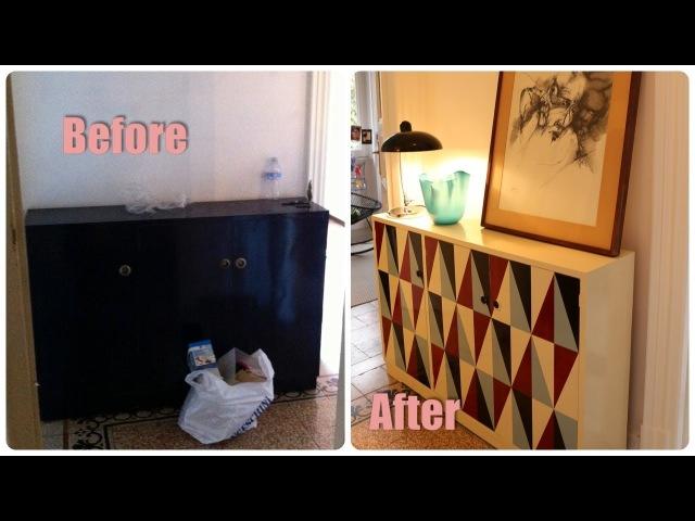 Come trasformare un vecchio mobile - DIY furniture makeover - geometric pattern