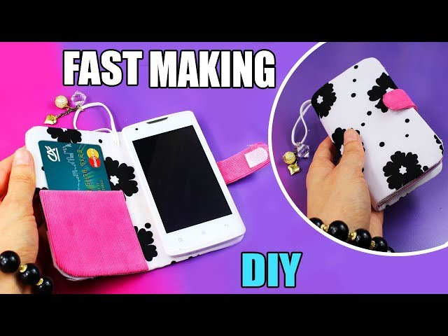 DIY FLIP PHONE CASE NO SEW FAST WAY TO MAKE WITH CREDIT CARD HOLDER