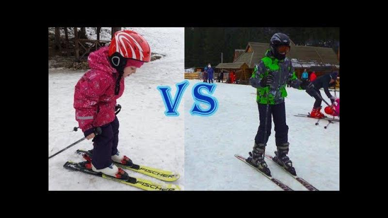 Горы и лыжи Спортивный ЧЕЛЛЕНДЖ мальчики vs девочек Настя ВПЕРВЫЕ на горных лыжах