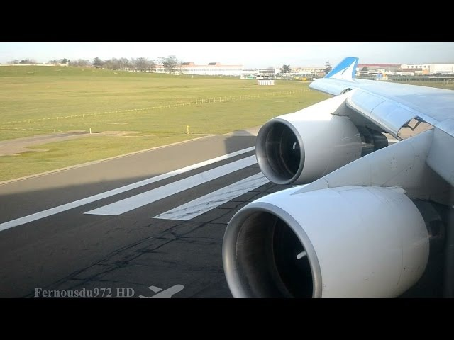 EPIC Pratt Whitney ROAR!! Boeing 747 TAKE OFF from Paris