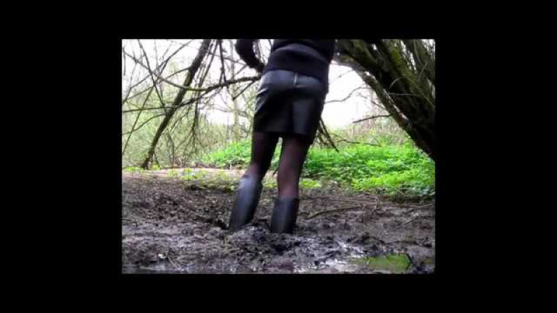 Riding boots stuck in mud in a skirt