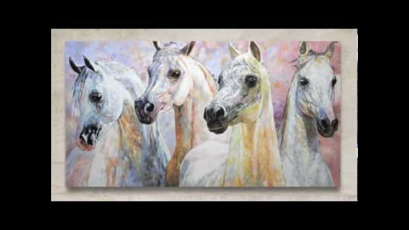 ARABIAN HORSES ARABISCHE PFERDE Original Painting by J O Art Studio Cologne