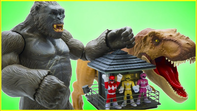Toys Story Full Episode: Giant KING KONG Attack Power Ranger Fun Toys Kids لعب الديناصورات 4