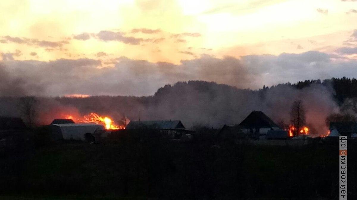пожар в Большом Букоре, Чайковский район, 2018 год