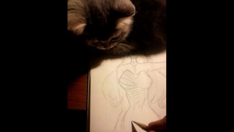 я и кошка рисуем. Mashiro Quince