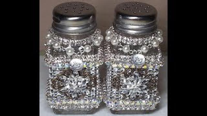 DIY~Gorgeous Upcycled Dollar Tree Salt Pepper Shakers~Vintage Glam! SO EASY!