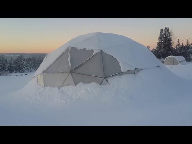 Купольная Теплица вегетарий зимой 9 января 2017 года Север Пермского края