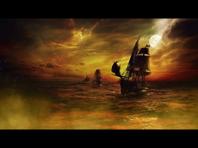 ⛵ Ship in a Storm, Thunderstorm at Sea Soundscape - Ocean, Rain Thunder Ambience on a Sailing Ship