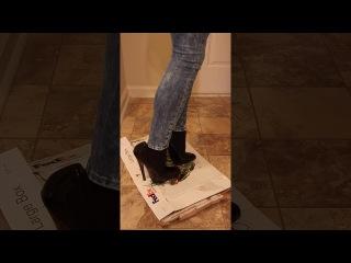 Sexy black 6 inch fetish high heels stuck in glue
