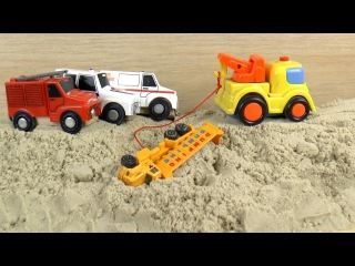 Sand Truck accident! Excavator, Fire Truck Rescue Car Toys video for Kids