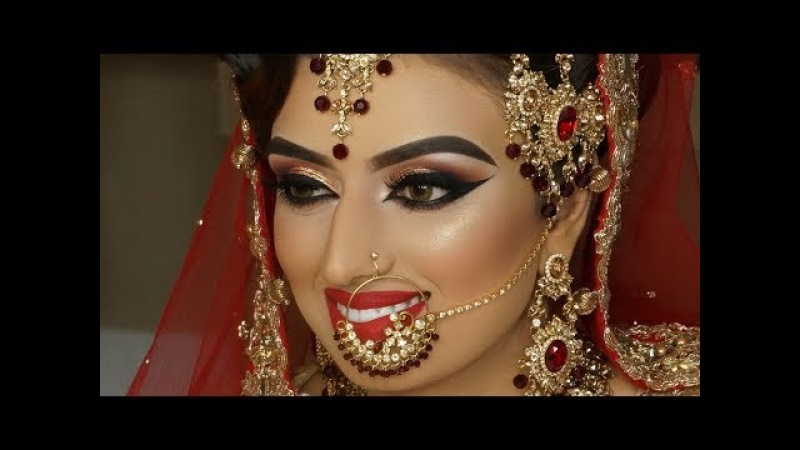 Real Bride | Asian Bridal Traditional Makeup | Dramatic Winged Liner | Cat Eyes And Red Lipstick