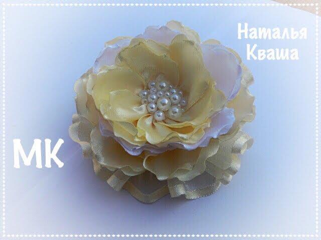 Нежный цветок из атласных лент и органзы. МК DIY A flower of satin ribbons