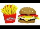Пластилин Плей До Лепим Бургер и Картошку Фри. Поделки из пластилина Play Doh для детей Игрушки 1