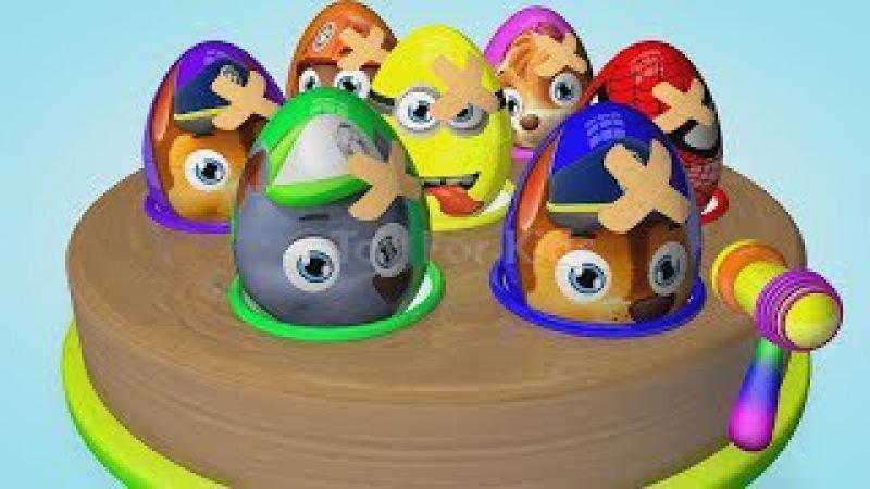 Aprender los Colores Huevos Sorpresa! La patrulla canina - Minions - Hombre Araña - Chase y Skye