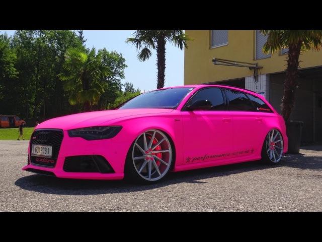 Crazy Neon Pink Audi RS6 Capristo LOUD Sound Exhaust Crackles!