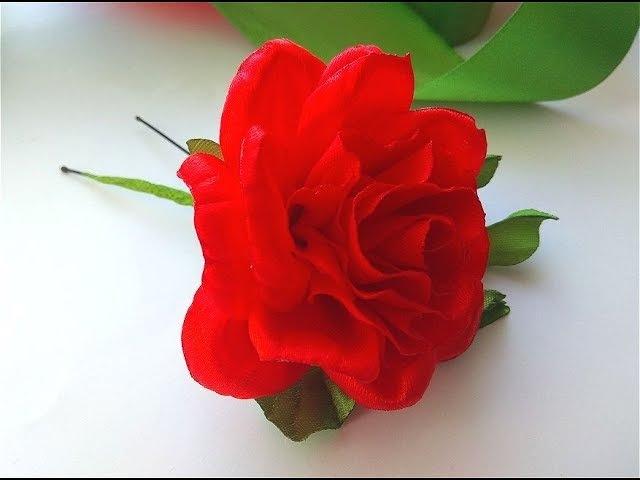МК Роза на шпильке из атласных лент/Канзаши / Hairpin-rosette/Master class