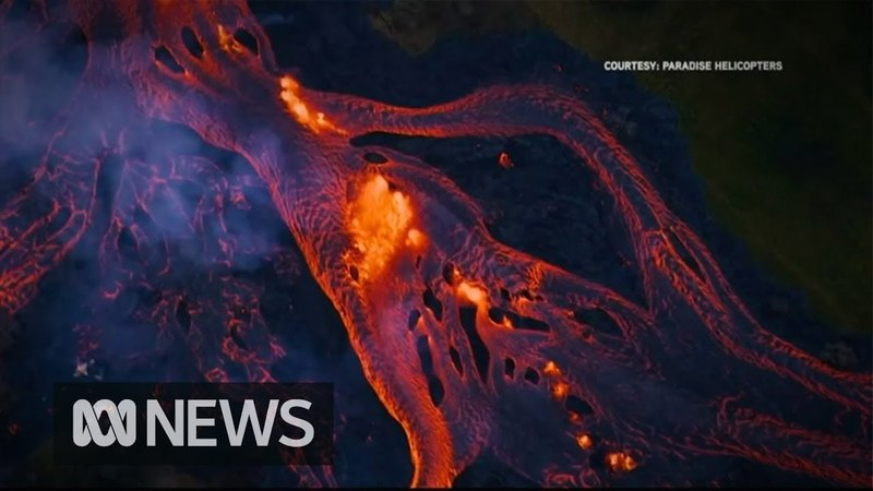 Rivers of fast moving lava flow from Hawaii's volcano