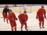 Тренировка нашей команды перед игрой со Словакией
