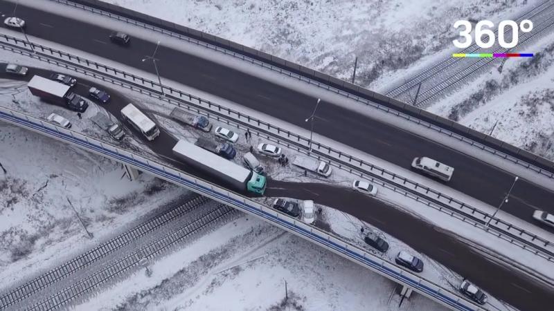 40 машин попали в аварию в Подольске