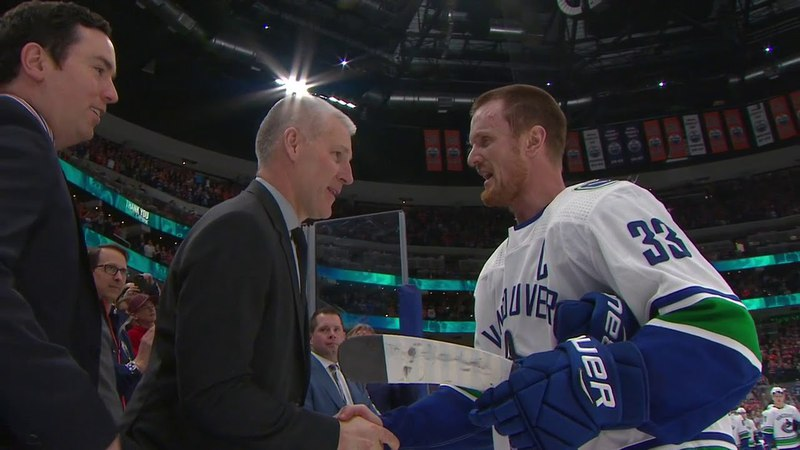 The Final On-Ice Celebrations of Henrik and Daniel Sedin as Players (Apr. 7, 2018) (CBC)