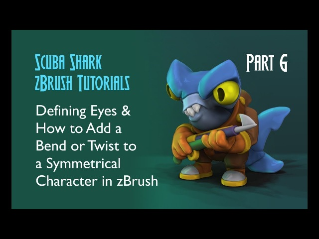Bending or Twisting Objects 3D Modeling Eyes in zBrush - Scuba Shark Tutorial PART 6
