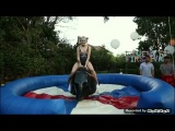 Laura Gilbert  Infamous Harley Quinn bull riding (funny part of her video)